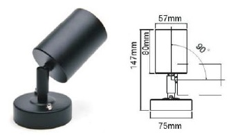 Vega Wall Lamp Black Led 5w : Electrical Sourcing Australia Pty Ltd Outdoor: Black Wall Light Adjustable in 5W or 7W LED